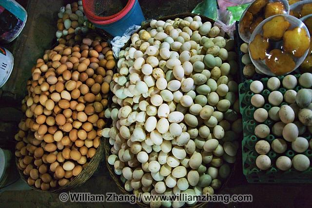 Fresh eggs for sale at market. Siem Reap