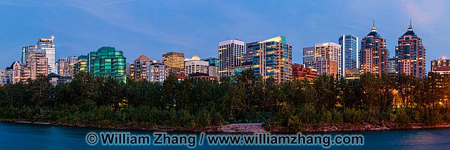 Panorama of downtown Calgary and Bow River
