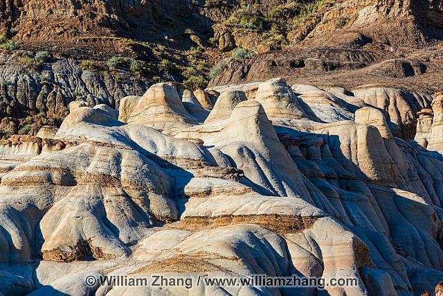 Hoodoos form knobs of sandstone near Drumheller. Alberta