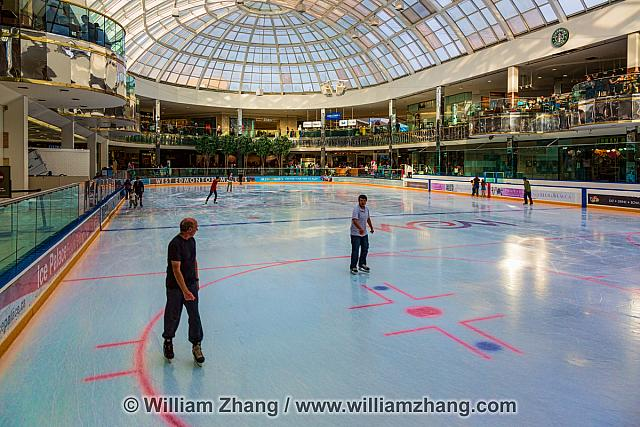 Skaters on the ice at West Edmonton Mall hockey rink. Alberta