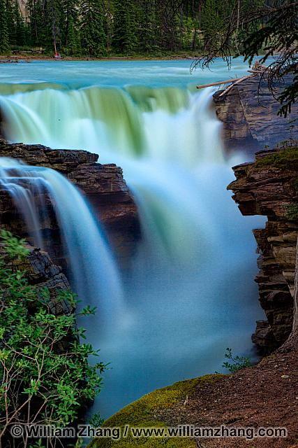 Water at Athabasca Falls comes from Columbia Icefield. Alberta