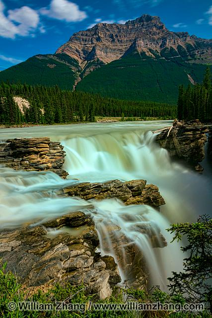 Rocky Mountains beyond Athabasca Falls in Jasper National Park