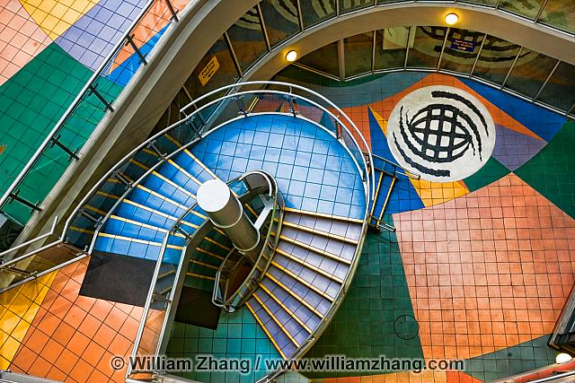 Stairway at International Village in Vancouver. BC, Canada
