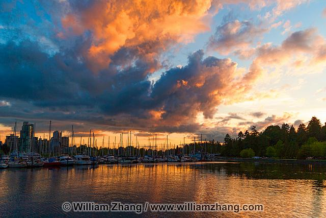 Vancouver sunset with boats and water. BC, Canada