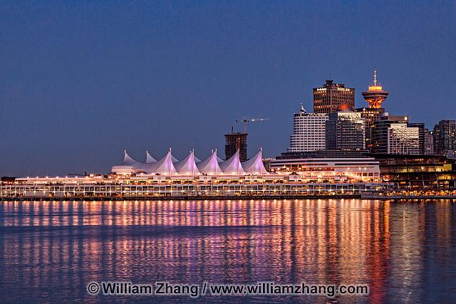 Canada Place at twilight in Vancouver. BC, Canada