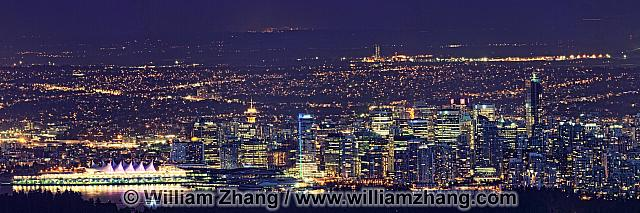 Panorama of Vancouver at night. British Columbia, Canada