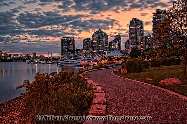 Path along False Creek in Vancouver. BC, Canada