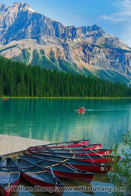 Canoes for rent at Emerald Lake in Yoho National Park. BC