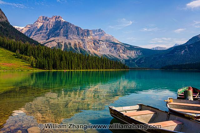 Mountain reflection in Emerald Lake in Yoho National Park. BC
