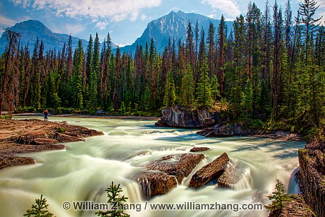 Kicking Horse River carved natural bridge at Yoho National Park