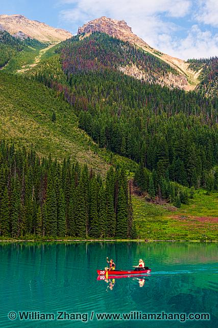 Canoeing in Lake Emerald at Yoho National Park. BC