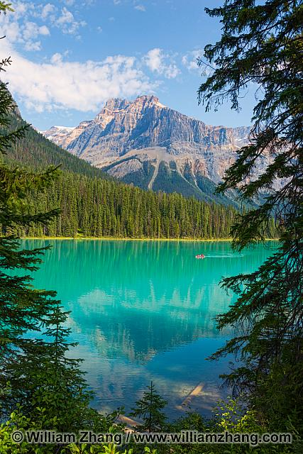 Clear green waters of Emerald Lake at Yoho National Park. BC