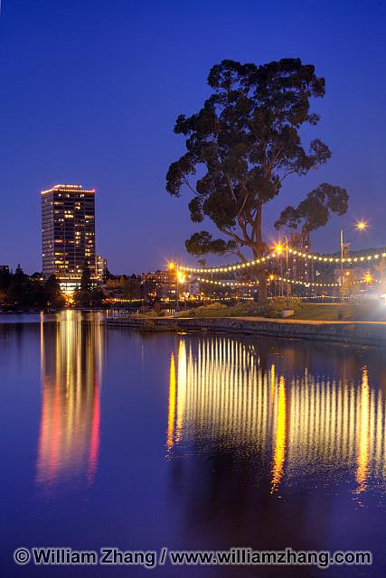 Necklace of Lights reflected in Lake Merritt. Oakland, CA