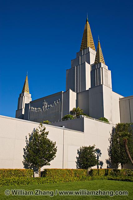 White walls and gold spires of LDS Temple. Oakland, CA