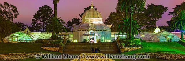 Night panorama of Conservatory of Flowers. San Francisco, CA