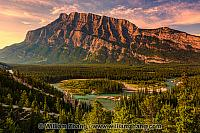 Mount Rundle across Bow River valley. Banff, Alberta, Canada