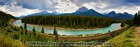 Panorama at Morant's Curve on Bow River near Banff. Alberta, Can