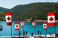 Canadian flags at Lake Minnewanka. Banff, Alberta, Canada