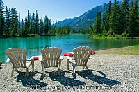 Chairs along Bow River in Banff. Alberta, Canada