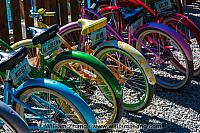 Bicycles for rent along Bow River. Banff, Alberta, Canada