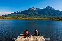 Dock at Vermilion Lakes in Banff. Alberta, Canada