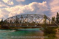 Castle Mountain Bridge over Bow River. Banff, Alberta