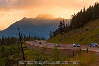 Sunset along Trans-Canada Highway 1 near Banff. Alberta, Canada