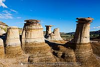 Hoodoos rise like watch towers near Drumheller. Alberta