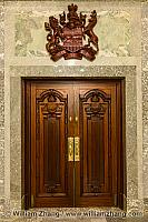 Carved doors with symbols of Alberta. Edmonton