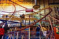 Spinning car on roller coaster in West Edmonton Mall. Alberta