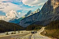 Driving along the Icefields Parkway. Alberta, Canada