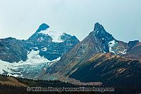 Glaciers twist through the Rocky Mountains. Alberta, Canada