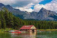 Boat house and canoes at Maligne Lake in Jasper National Park