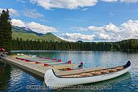 Canoes in lake at Jasper Park Lodge in Jasper National Park