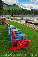 Chairs lined along the lake at Jasper Park Lodge. Jasper NP