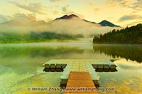 Sunrise mist obscures Pyramid Mountain in Jasper National Park