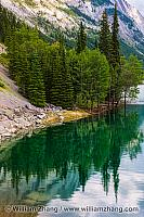 Reflection of trees in Medicine Lake in Jasper National Park