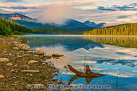 Patricia Lake reflection with clouds, trees, and mountains