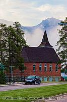 Brick church in Jasper townsite. Alberta