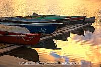 Canoes at sunrise on dock at Patricia Lake. Jasper National Park