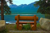Bench on Spirit Island at Pyramid Lake in Jasper National Park