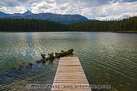 Patricia Lake dock and floating tree in Jasper National Park
