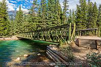 Footbridge across Maligne River in Jasper National Park. Alberta