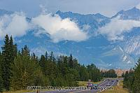 High peaks and clouds along Canadian highway. Jasper NP