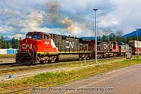 Canadian National Railways freight train in Jasper. Alberta