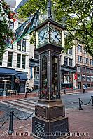 Steam grate covered by Gastown clock in Vancouver. BC, Canada