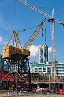 North Vancouver construction cranes. British Columbia, Canada