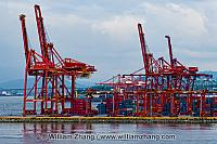 North Vancouver cranes and containers in harbour. BC, Canada