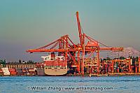 North shore cranes and container ship. Vancouver, BC, Canada