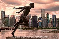 Running Man statue in Stanley Park in Vancouver. BC, Canada